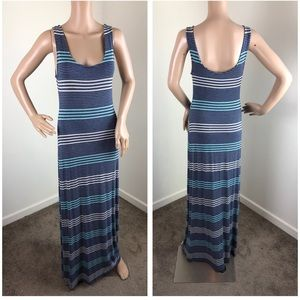 Merona gray & blue striped maxi dress
